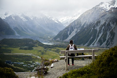 Warm up. (Writeinlight) Tags: newzealand mountain view lookout alpine nz mtcook southisland aoraki hookervalley mtcookvillage redtarns