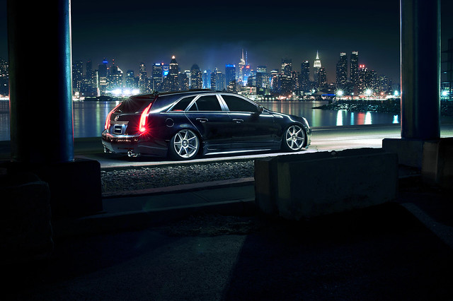 nyc skyline wagon wheels cadillac cts vossen