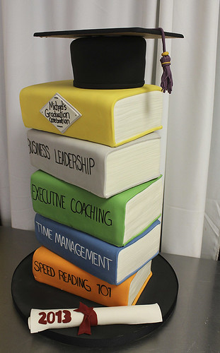 Graduation books hat diploma cake