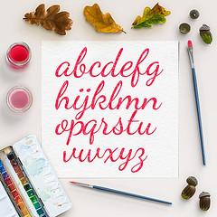 Red Watercolor Alphabet (northseastudio) Tags: alphabet clipart etsy watercolor