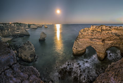 Praia da Marinha (abel.maestro) Tags: sky sunrise sea sunset water beach travel blue night light ocean rocks summer beautiful moon sand seascape long exposure portugal panoramic luna playa panoramica cueva cosecha