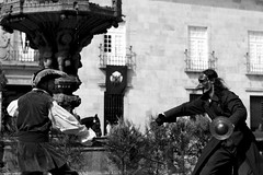 masked warrior (Memories of the Far East) Tags: portugal braga rua do souto reitoria sword baroque duel black white mask