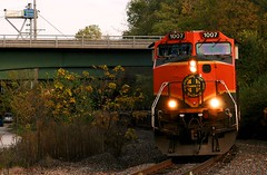Goats in Fall (Jeff Carlson_82) Tags: bnsf burlingtonnorthernsantafe goatboat h1 1007 ge c449w fall fallcolor autumn l71 local lawrence ks kansas topekasub mp27 train railfan railroad railway