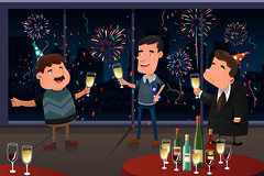 New Year Eve party indoor (hungcus) Tags: vector illustration cartoon drawing clipart modern party newyear male men young adult people happy happiness smile celebrate celebration festive festival tradition traditional confetti drink holiday lifestyle leisure event firework newyeareve toast