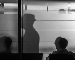 Dark:Apparitions (BazM:Photog.......:-)) Tags: blackwhite blancoynegro monochrome bazmatthews bw shadow shadows airport hat maninhat frostedglass apparition apparitions ghostly silhouette