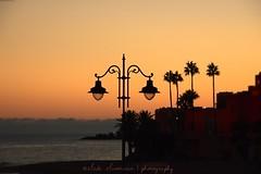 Lanterns / Linternas (suominensde) Tags: puestadelsol outdoor sunset atardecer silhouette silueta lantern linterna crepsculo twilight nikon d5300 spain espaa palm palmera landscape paisaje andaluca mar sea