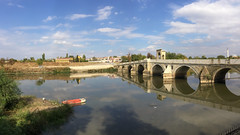 Bridge on the Meri River (mehmetyukselphotography) Tags: edirne turkey tr river nature natural reflection reflections sky water world travel trip road colorful color colors iphone boat blue red architecture kpr life love city ehir ak landscape manzara photo photography