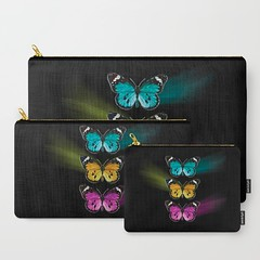 3-colorful-butterflies-carry-all-pouches (vannina_sf) Tags: butterfly butterflies society6 black colorful illustration blue yellow pink pouch wallet