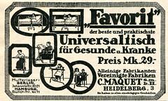 Werbeanzeige fr den Favorit Universaltisch (altpapiersammler) Tags: advertising alt old vintage werbung werbegrafik werbezeichnung artdesign ad anzeige zeichnung zeitungsanzeige drawing draw