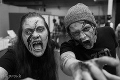 Zombie invasion (elcoprouk) Tags: male female girl boy man woman halloween makeup bokeh black white bw noire et blanc zombie indoor blood gore