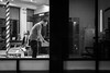 Working the night shift (dharder9475) Tags: 2016 5star bw barber barbershop blackandwhite candid hairsalon logansquare night privpublic streetphotography window