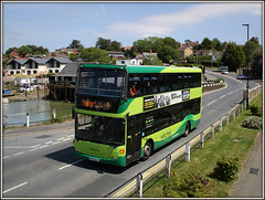Southern Vectis 1146, Wootton Bridge (Jason 87030) Tags: hw09bce 1146 scania omnicity green woottonbridge quay iow island isleofwight may 2015 pole doubledecker uk england