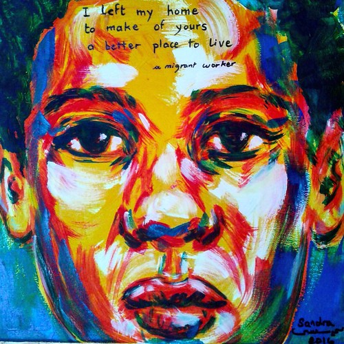 I left my #home #acrylic on #canvas 30x30cm #painting #now #faces from my #memory A #migrant #worker #SandraIssaArt  #artist  Lost in #Belgium