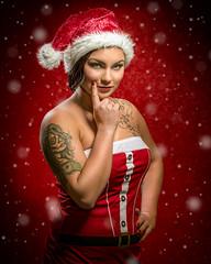 Naughty Elf (Tortured Mind) Tags: 54 70200mmf28 hemppukoo kuopio suomi bad christmas d800 dslr fi homestudio humour nikkor nikon portrait red santa snow woman xmas zoom