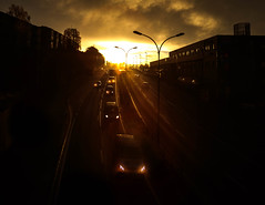 (Svein Nordrum) Tags: sun sunrise cars road morning light darkness contrast oslo headlight headlights explore explored