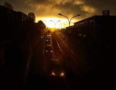 (Svein Skjåk Nordrum) Tags: sun sunrise cars road morning light darkness contrast oslo headlight headlights explore explored