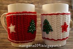 XmasCozyMug_02w (Morgana209) Tags: natale natale2016 christmas cozymug tazze uncinetto crochet feltro handmade fattoamano creativit rosso bianco lana stelle albero tree merenda colazione biscotti