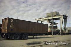 München 1971 Eröffnung Containerterminal Arnulfstrasse (Pacific11) Tags: arnulfstrasse container transport schiene bahnhof kran track train schachtel metall fortschritt 1970 1971 ladebahnhof terminal laufkatze stückgut güterzug