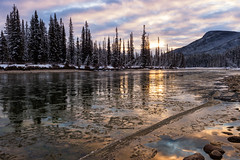 Fighting the Deep Freeze (Kristin Repsher) Tags: alberta banff banffnationalpark bowriver canada canadianrockies castlejunction clouds df freezing ice nikon river rockies rockymountains snow sunrise winter
