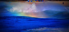 DSC_0414 Waves and rainbow (Rodolfo Frino) Tags: sea ocean water wow bright color colors colores colorful colourful blue rainbow mar sand seashore costline beach people splash waves wave seascape exposure