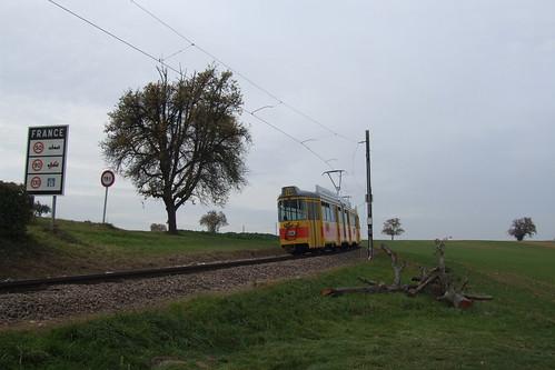 Tram entering France, 29.10.2011.