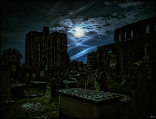 Old graves in the moonlight