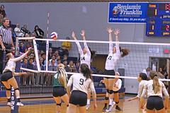 IMG_8107 (SJH Foto) Tags: girls volleyball high school york delone catholic team teen teenager net battle spike block action shot jump midair