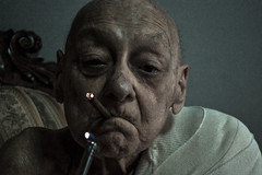 Portrait with cigar (I) (Leonard M.) Tags: old portrait man face closeup contrast grandfather elderly