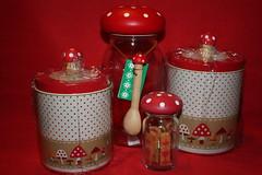 Mushroom (Verokitschy) Tags: red white cute mushroom kitchen glass japan print mushrooms tin japanese store pattern decoration polka dot storage container decorating kawaii toadstool dots decor brand polkadot decole