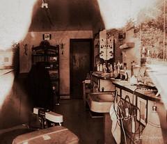 Main Barber Shop (cooper.gary) Tags: barbershop masontown westvirginia snapseed snapseedphotography sepia canon5dmarkii barberchair emptychair barber haircut shave