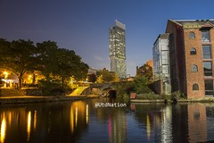 Castlefield night and day (0-1-6-1) Tags: new old bridge autumn trees england water architecture night manchester boats day basin citycentre castlefield beethamtower