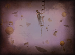 There Go My Memories (CapturedbyKC) Tags: umbrella photoshop vintage whimsy memories flight surreal floating fantasy hotairballoon concept whimsical photoshopmanipulation itsanaddiction deviantartstock