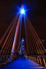 Thinking (RosLol) Tags: bridge people man london night walking gente uomo londra notte roslol