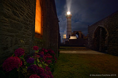 Saint Mathieu by night (Maurizio Fontana) Tags: ocean travel blue light sunset sea sky cliff cloud lighthouse france water night clouds faro lights travels nikon europa europe tramonto nuvole mare waves nuvola blu wave bretagne atlantic cielo luci acqua isle francia viaggi viaggio notte luce oceano onde isola d800 atlantico onda scogliera fari bretagna