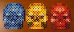 DOOM skull keys (Monochrome_GS) Tags: skull key doom hama perler beadsprite