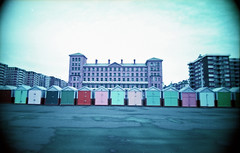 Hove Huts (pho-Tony) Tags: camera blue color film rollei 35mm point lomography brighton shoot purple wide shift panoramic ishootfilm cast automatic infrared mauve prego r1 24mm ricoh xr compact micron 30mm c41 100400 ricohr1 filmisnotdead photosofcameras tetenal rolleipregomicron lomochrome multicamsource lomochromepurple xr100400 lomochromepurplexr100400 filmlomochromepurple