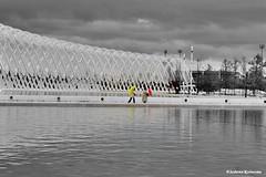 """  "" (Eleanna Kounoupa) Tags: sky blackandwhite art rain weather architecture clouds perspective arc athens greece santiagocalatrava    blackwhitephotos        arcademarket   olympicathleticcenter"