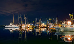 Night Fleet (Clayton Perry Photoworks) Tags: night vancouver reflections boats lights fishing richmond steveston