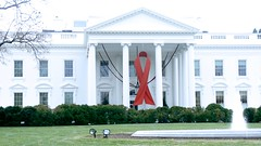 World AIDS Day - Red Ribbon on the White House Portico 33926