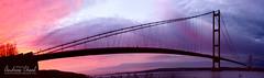 Humber Sunset (Andrew Cheal) Tags: bridge sunset england panorama river suspension pano panoramic humber