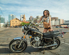 Easy Rider (Laveen Photography (aka cyclist451)) Tags: arizona sexy phoenix fashion photography graffiti model mural downtown photographer unitedstates modeling lifestyle az photograph vanburen motorcycle 5thave kaley edgy douglaslsmith
