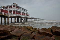 Jimmy's on the beach (uptownguydenver) Tags: ocean sea usa mist galveston building nature water ecology weather fog architecture restaurant scenery tx structures architectural environment environmentalism ecosystem edifice edifices commercialbuilding