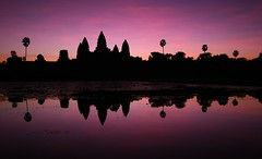 (marcwiz2012) Tags: reflection tree silhouette sunrise ancient ruins asia cambodia khmer angkorwat icon palm angkor wat historicsite