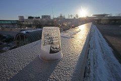 nothalfover (local paparazzi (isthmusportrait.com)) Tags: morning shadow sun snow cold building texture cup glass sunshine architecture sunrise logo outdoors prime design early iso200 pod nikon parkinglot downtown frost glare dof bright bokeh empty entrance freezing dry sunny structure franklloydwright plastic lensflare vacant fancy half flare conventioncenter chilly madisonwi nikkor frigid brightness entry starburst frosted belowzero subzero intothesun ghosting banding mononaterrace halffull 2014 isthmus windchill directsunlight notoveryet drycold danecountywisconsin photoshopelements7 canon5dmarkii pse7 localpaparazzi redskyrocketman lopap nikon18mm35ais polarvortex