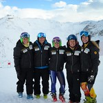 BC Ski Team girls Charley Field and Emma King in Europe on special Alpine Canada speed project, January 2014 (other girls are Adrienne Poitras, Kelly Moore, Caroline Bartlett, and Julia Roth)