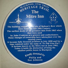 "Blackpool Heritage Trail plaque, The Mitre Inn, Blackpool • <a style=""font-size:0.8em;"" href=""http://www.flickr.com/photos/9840291@N03/12260767336/"" target=""_blank"">View on Flickr</a>"