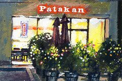 Patakan (Sherry Schmidt) Tags: food art night watercolor painting outside lights restaurant cafe thai watercolour inside gouache nocturne