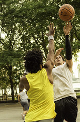 Street Basketball (chapterthree) Tags: park street sunset newyork game sports basketball brooklyn ball court river battery player nike hudson players hoops recreational dribbling
