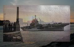 HMS Implacable (Jainbow) Tags: white black colour photoshop dad harbour portsmouth 2008 1951 hms implacable cs5 jainbow