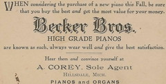 """SW Hillsdale MI BECKER BROTHERS PIANOS established 1892 high quality pianos represented by A Corey Piano and Organ Company Dirt Street Horse and Buggy and early Automobile Era-1 (UpNorth Memories - Donald (Don) Harrison) Tags: travel usa heritage history tourism vintage antique michigan postcard memories restaurants hotels trailer roadside upnorth cafes attractions motels cottages cabins campgrounds upnorthmemories rppc wonders"""" """"michigan memories"""" parks"""" entertainment"""" """"natural harrison"""" """"roadside """"travel """"don """"tourist stops"""" """"upnorth"""